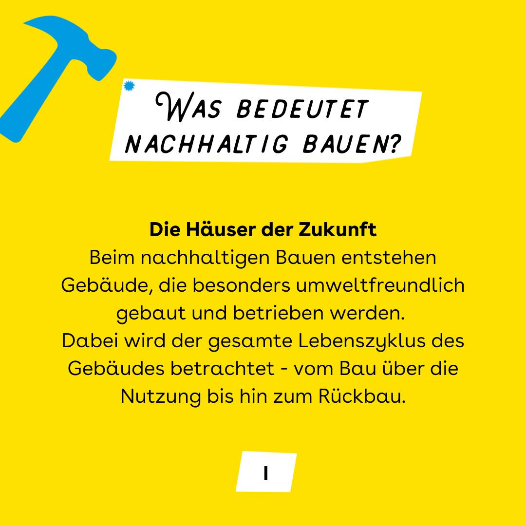 """Auf gelbem Hintergrund, der Titel """"Was bedeutet nachhaltig bauen?"""" mit einen blauen Hammer links davon. In der Mitte, der Text."""