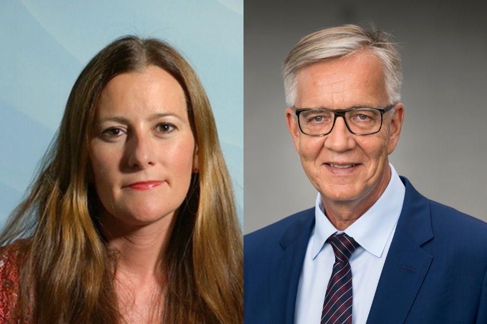 Auf dem Bild sind die Spitzenkandidaten der Linken Janine Wissler und Dietmar Bartsch abgebildet