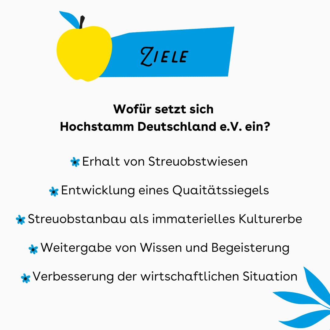 """Der Hintergrund ist weiß. Oben ist ein blauer Balken in dem steht Ziele, nebendran ist ein gelber Apfel. Darunter steht: """" Wofür setzt sich Hochstamm e.V. ein? Erhalt von Steuobstwiesen. Entwicklung eines Qualitätssiegels. Streuobstwiesen als immaterielles Kulturerbe. Weitergabe von Wissen und Begeisterung. Verbesserung der wirtschaftlichen Situation"""""""
