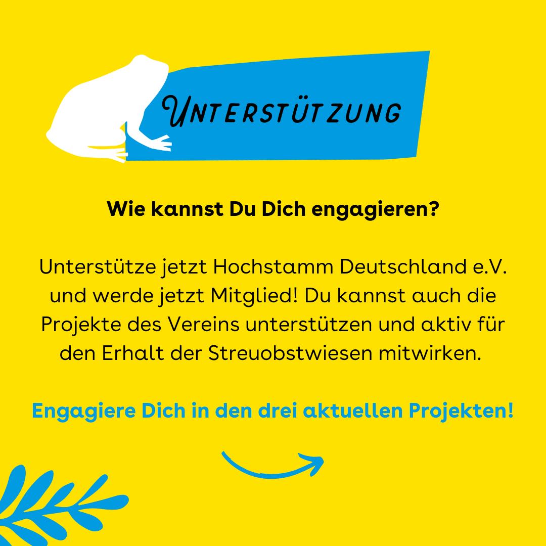 """Der Hintergrund ist gelb. oben ist ein blauer Balken in dem steht """"Unterstützung"""", daneben ist ein weißer Frosch. Darunter steht: """"Wie kannst Du Dich engagieren? Unterstütze jetzt Hochstamm Deutschland e.V. und werde jetzt Mitglied! Du kannst auch die Projekte des Vereins unterstützen und aktiv für den Erhalt der Streuobstwiesen mitwirken. Engagiere Dich in den drei aktuellen Projekten!"""""""